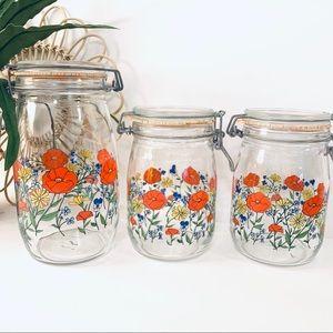 Vintage | Floral Canning Jars By R Carman France